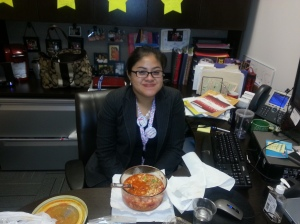 Tita at my desk and proclaiming, I am Toni today!