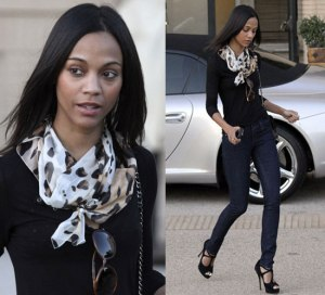 My fall skinny jean fashion inspiration -- Zoe Saldana.