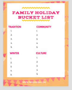 Click to access a Family Holiday Bucket List printable.