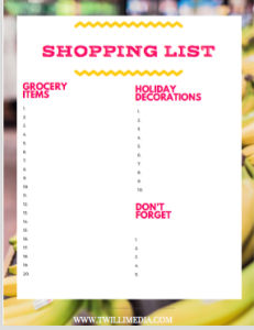 Click through to get a grocery shopping list printable for the holidays.