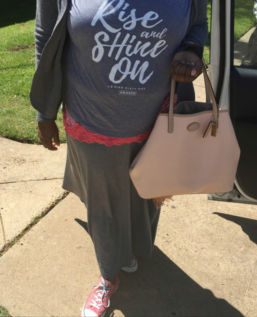 My outfit of the day. I've developed an affinity for the color gray with a pop of color in recent months.
