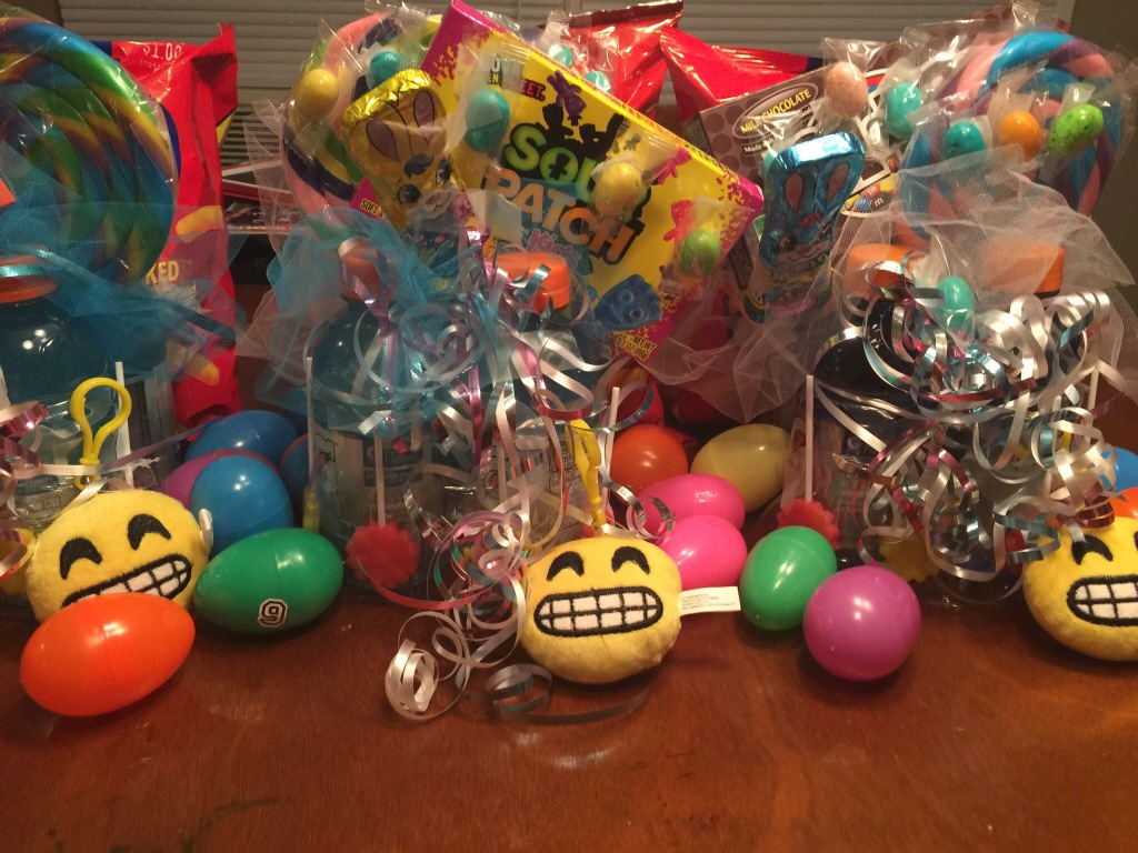 Easter baskets for teens. The base is a 4-pack of Gatorade. What did we do without B.P.? (Before Pinterest)
