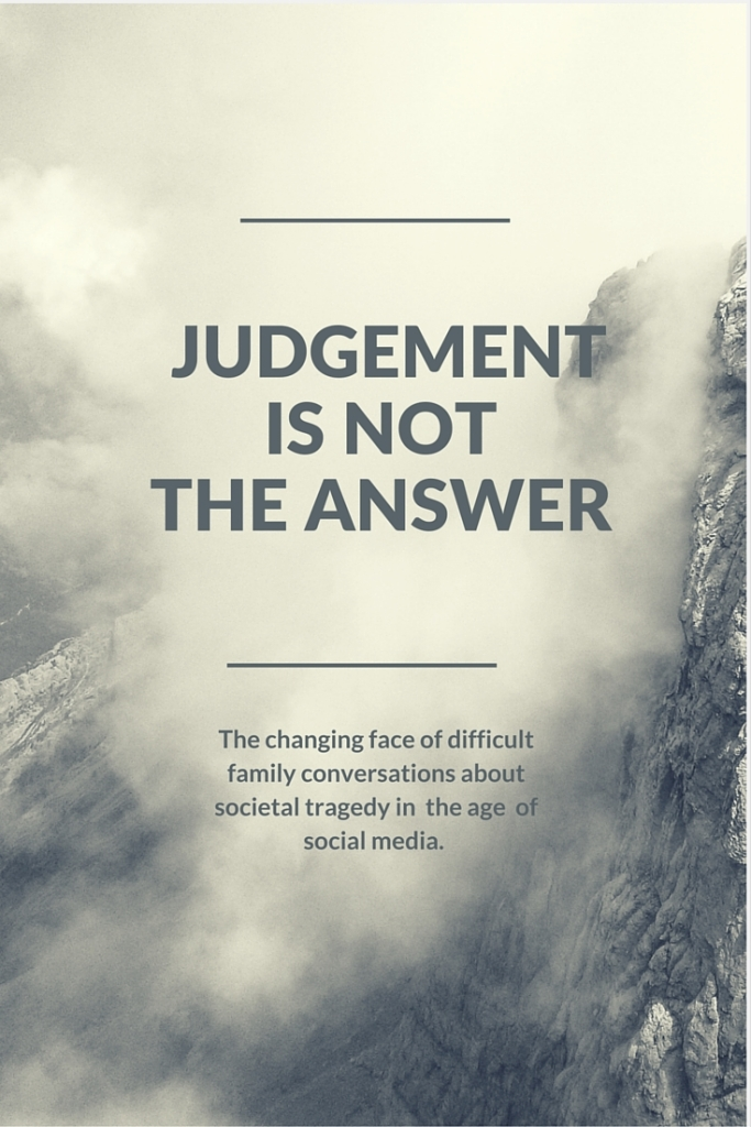 In light of the tragedies that are occurring in our country, one mom encourages others to look past the tendency to judge.