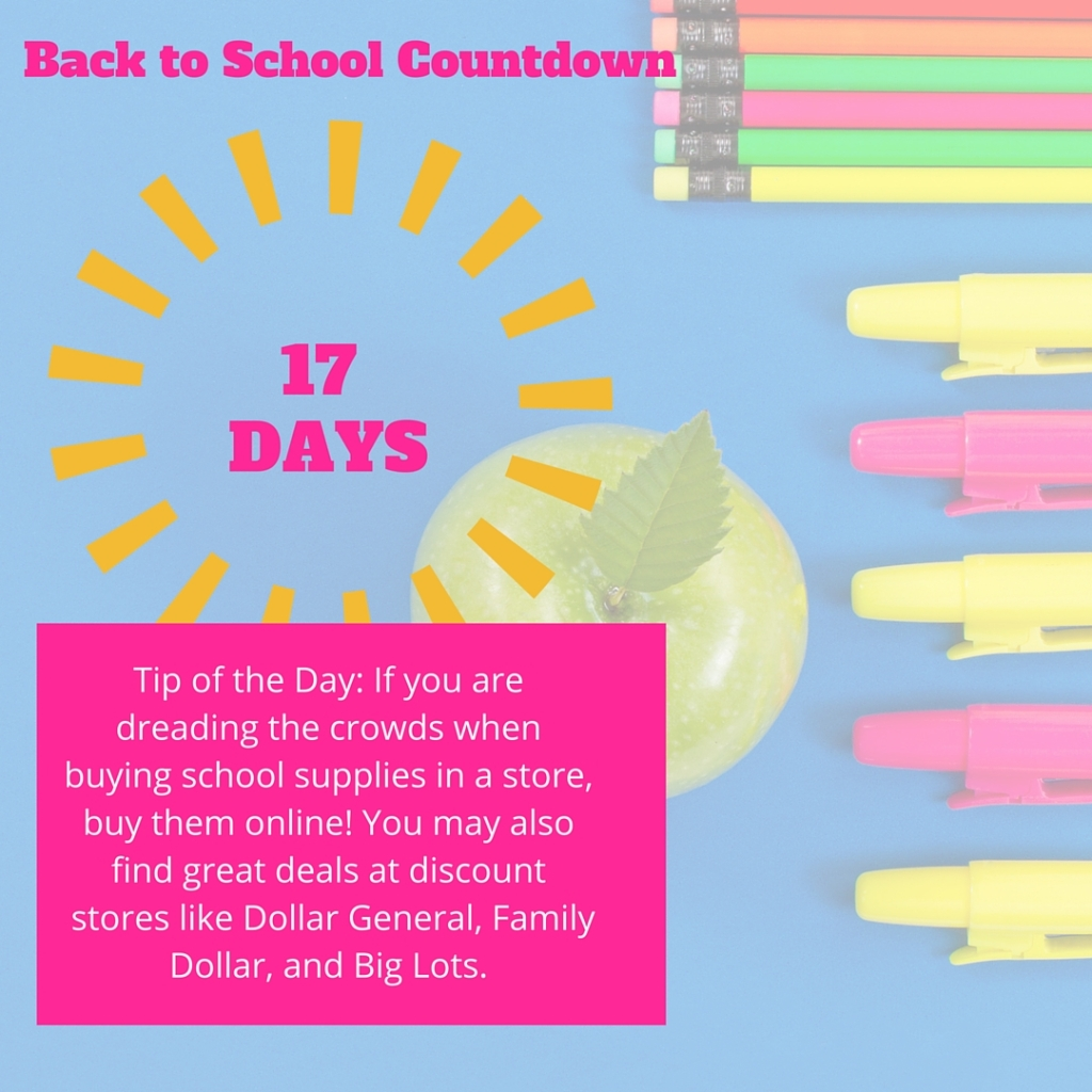 Welcome to Day 17 of our countdown until the school year begins! Most Texas schools begin the week of August 21, so I'm using that as a target date, but feel free to adjust these tips to meet the needs of your family.