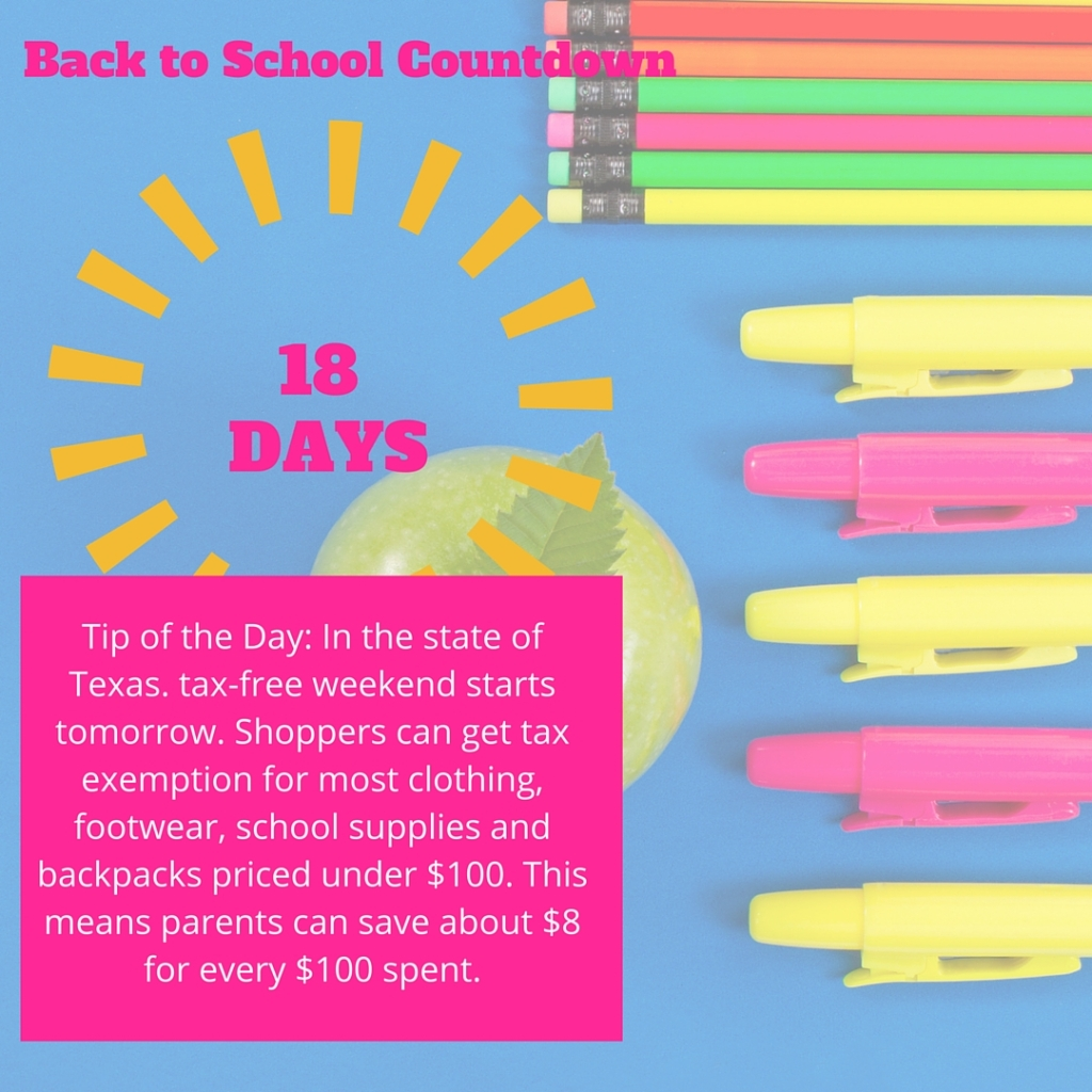 Welcome to Day 18 of our countdown until the school year begins! Most Texas schools begin the week of August 21, so I'm using that as a target date, but feel free to adjust these tips to meet the needs of your family.
