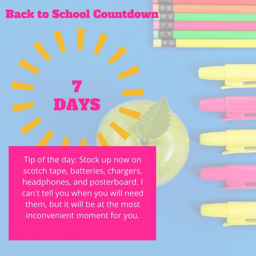 back to school 7 days